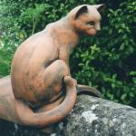 Maggie Curtis -  Cat on a round ridge tile